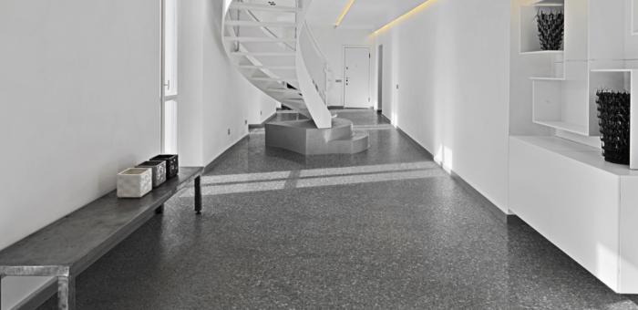 Corridor with Marmette Antracite tile by Savoia Italia