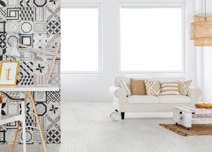 Room featuring the Marmette Bianco tile on the floor