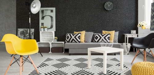Room featuring the Marmette Nero tile by Savoia Italia on the wall