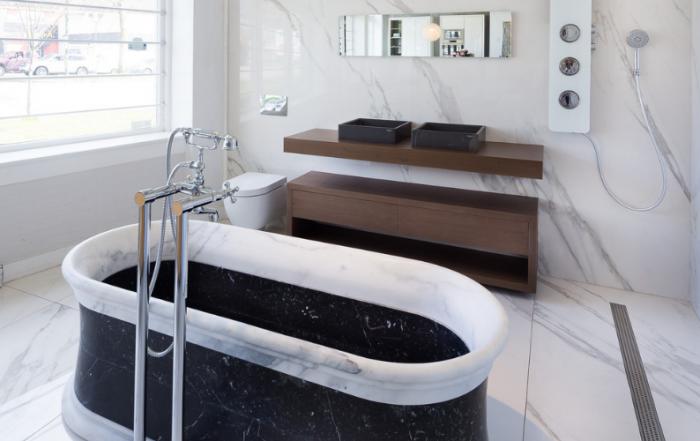 Bathtub and bathroom cabinet by Porcelanosa in Fontile Kitchen & Bath showroom