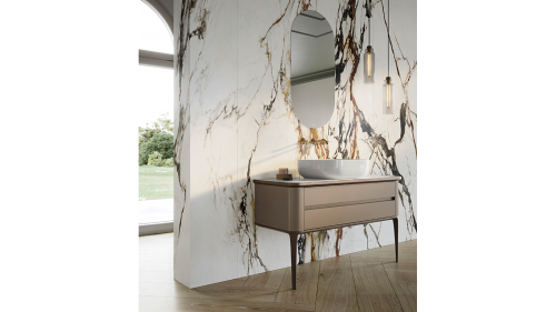 Bathroom featuring the Paonazzo Biondo Polished slab by Urbatek Porcelanosa Grupo on the wall