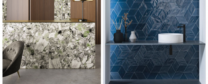 Screziato Vivace floor and wall tile and Rhombus Navy Glossy wall tile