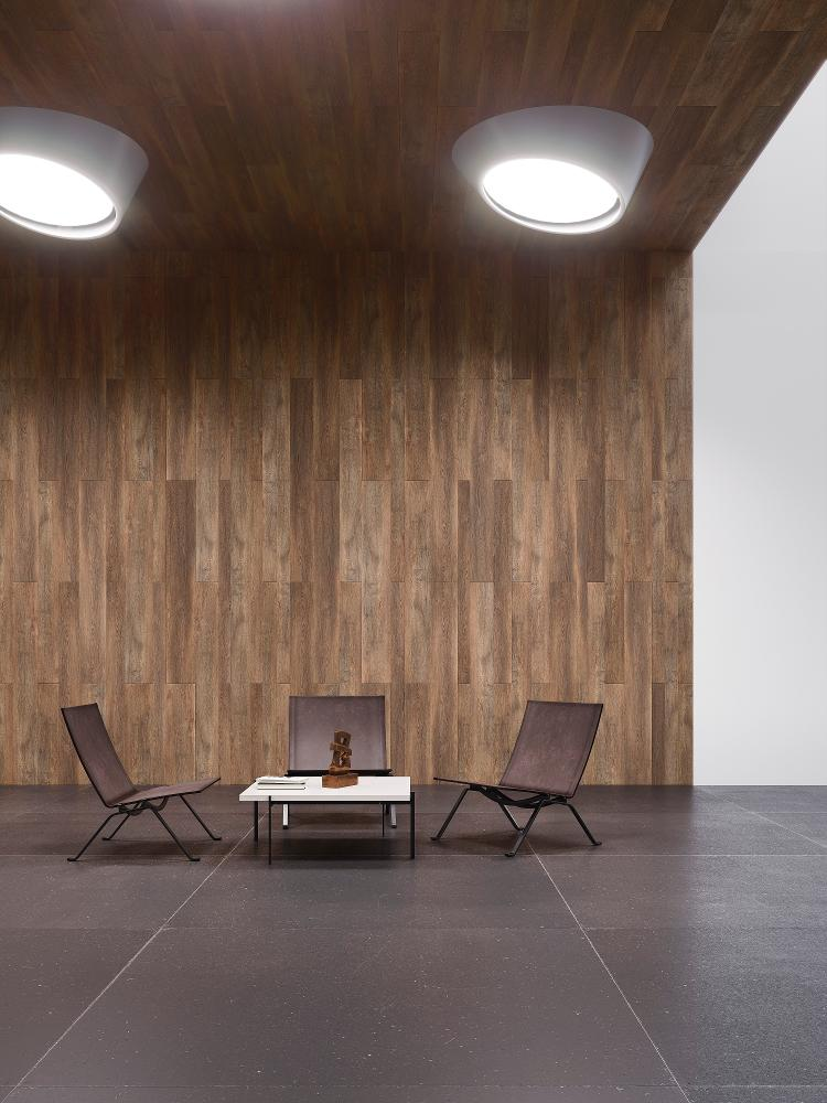 Room featuring the Linkfloor Multiformat Coffee vinyl plank by L'antic Colonial Porcelanosa Grupo