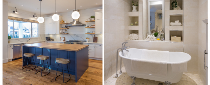 The first picture shows a kitchen with countertop, plumbing and cabinets and the second one shows a bathroom featuring a bathtub and bathroom cabinetry from Fontile