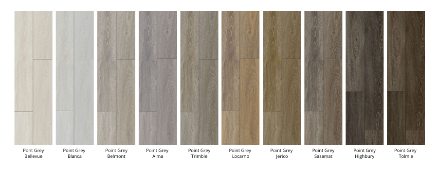 Palette of colours of the Point Grey collection by ENMON North America