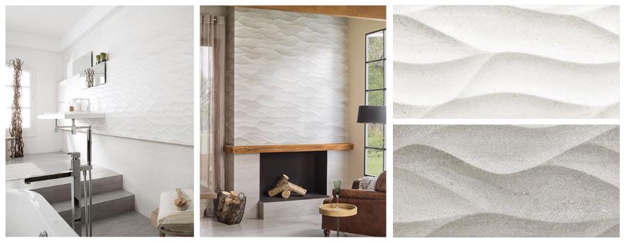 Bathroom featuring the 3D wall tile Ona Blanco and fireplace featuring the textured tile Ona Natural