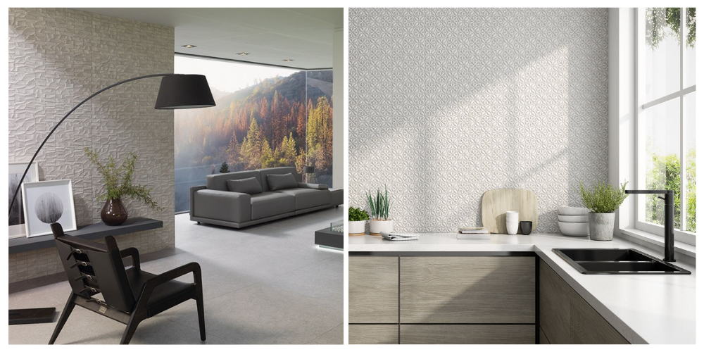 Living room and kitchen 3D wall tiles
